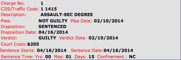 assault 2nd degree guilty