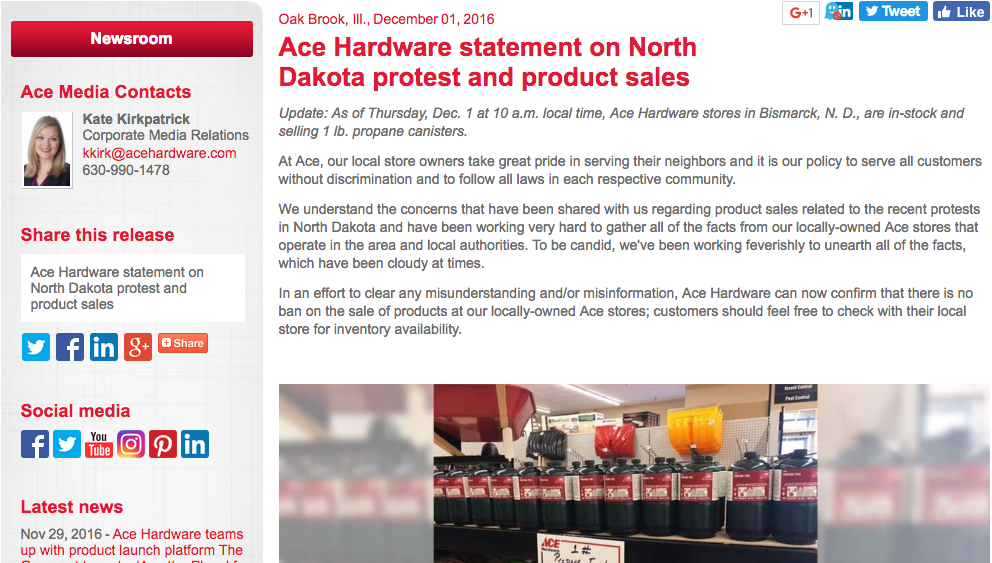 On Thursday morning, 1 December 2016, Ace Corporate revised it's statement regarding the sales of propane canisters to the public, including to Water Protectors.